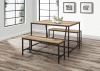 Birlea Urban Industrial Chic Kitchen Dining Table 2 Bench Set Rustic Metal Wood