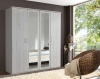 German Driftwood White Oak 4 Door 2 Mirror 180cm Wardrobe Shabby Chic