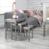 IFC Sofia Ultra Modern Designer Silver Titanium Nest of Tables Rectangular