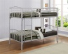Corfu Metal Bunkbed Single 90cm 3FT  Bunk Bed with Beech Post Caps in Silver