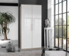 German 7 Door White Gloss Mirror & Oak Corner Wardrobe 261cm by 216cm Fitment