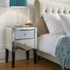 Birlea Palermo Mirrored 2 Drawer Bevelled Mirror Bedside Chest Crystal Handle