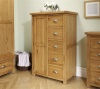 Birlea Woburn 1 Door 5 Drawer Solid Wardrobe Oak Wood Traditional Design