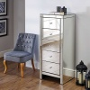 Birlea Seville Mirrored 5 Drawer Narrow  Bevelled Mirror Chest Crystal Handle