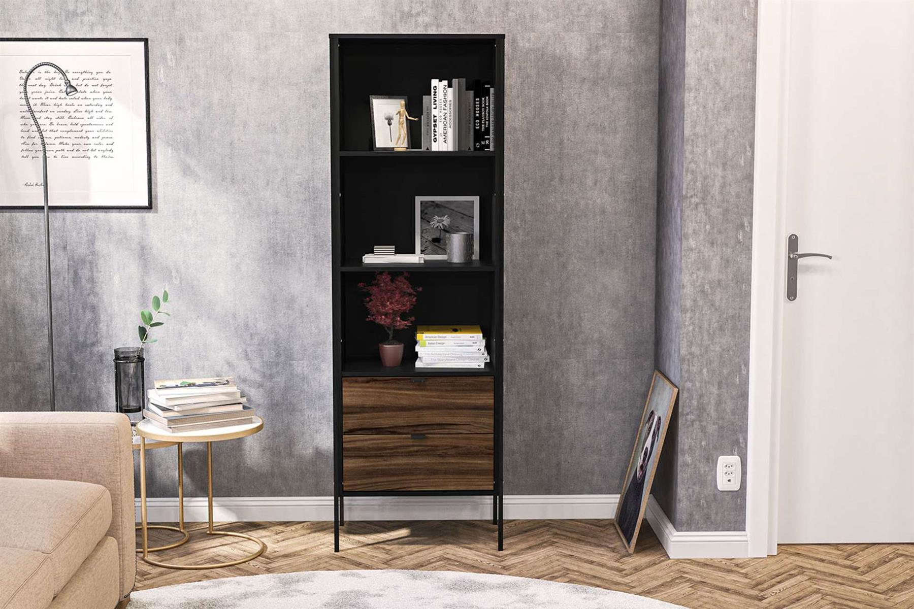 Birlea Opus 2 Drawer Bookcase Modern Industrial Office Study or Gaming