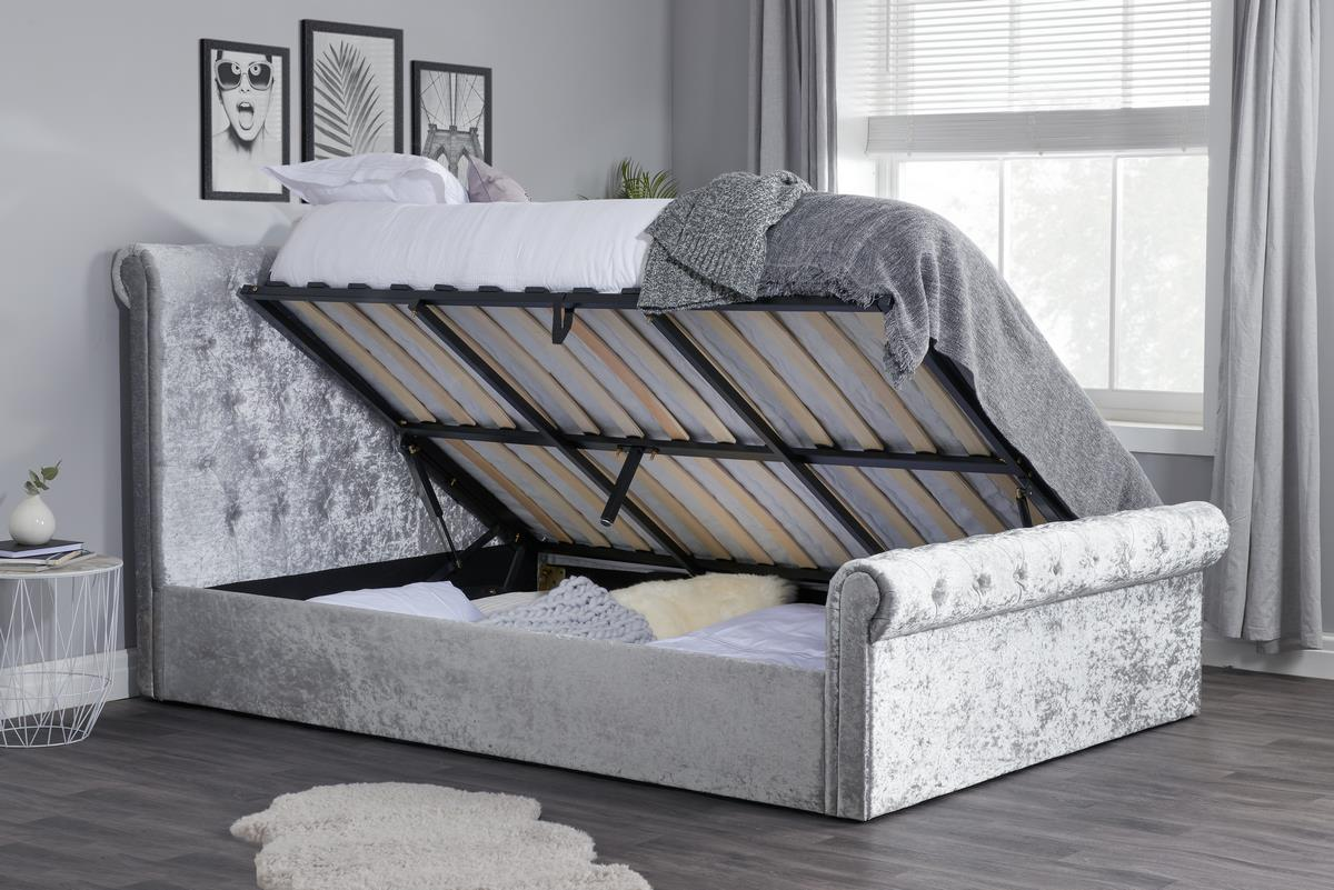 Picture of: Birlea Sienna 4ft Small Double Sleigh Bed Frame Steel Grey Side Ottoman Storage Www Robinsons Furniture