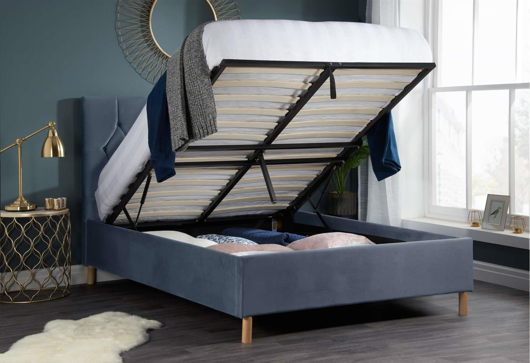 Birlea Loxley Ottoman Bed Frame 135cm Double 4FT6 Grey Fabric Storage