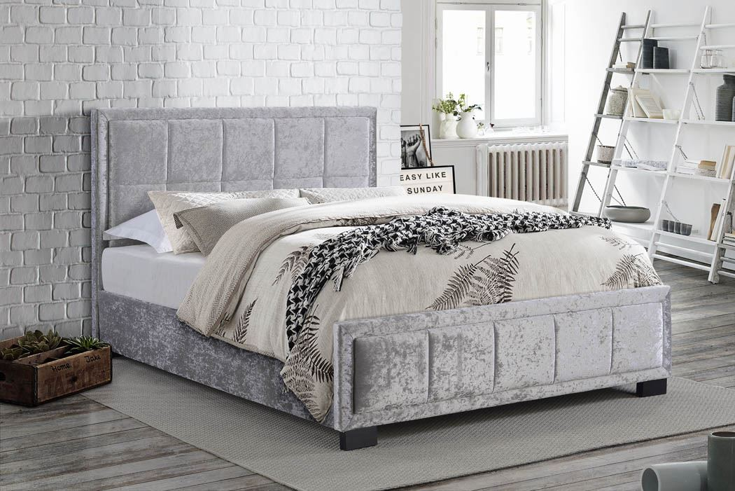 Birlea Hannover Steel Grey Crushed Velvet Fabric Bed Frame 135cm Double 4ft6