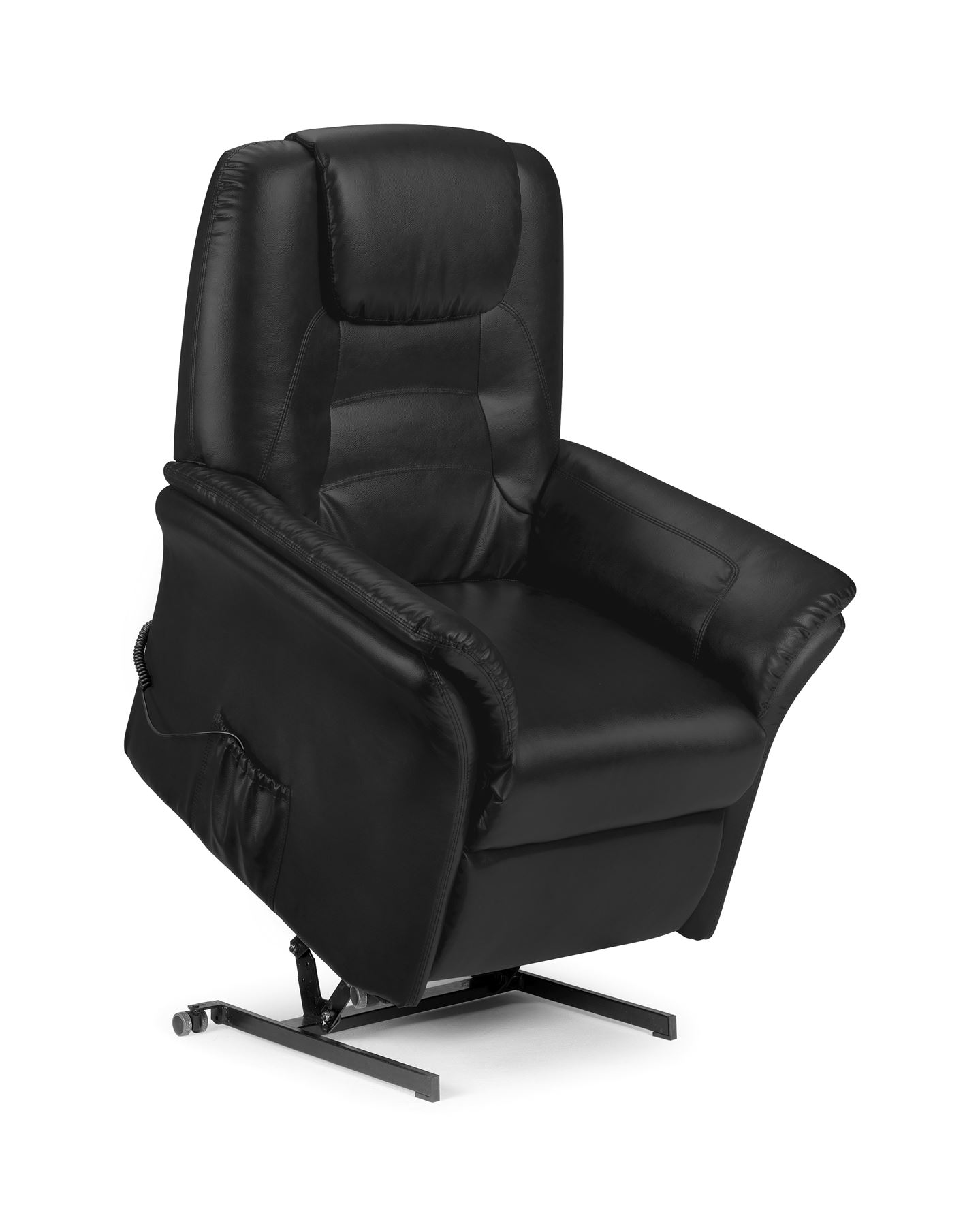 Julian Bowen Riva Electric rise recliner Chair Black Faux Leather