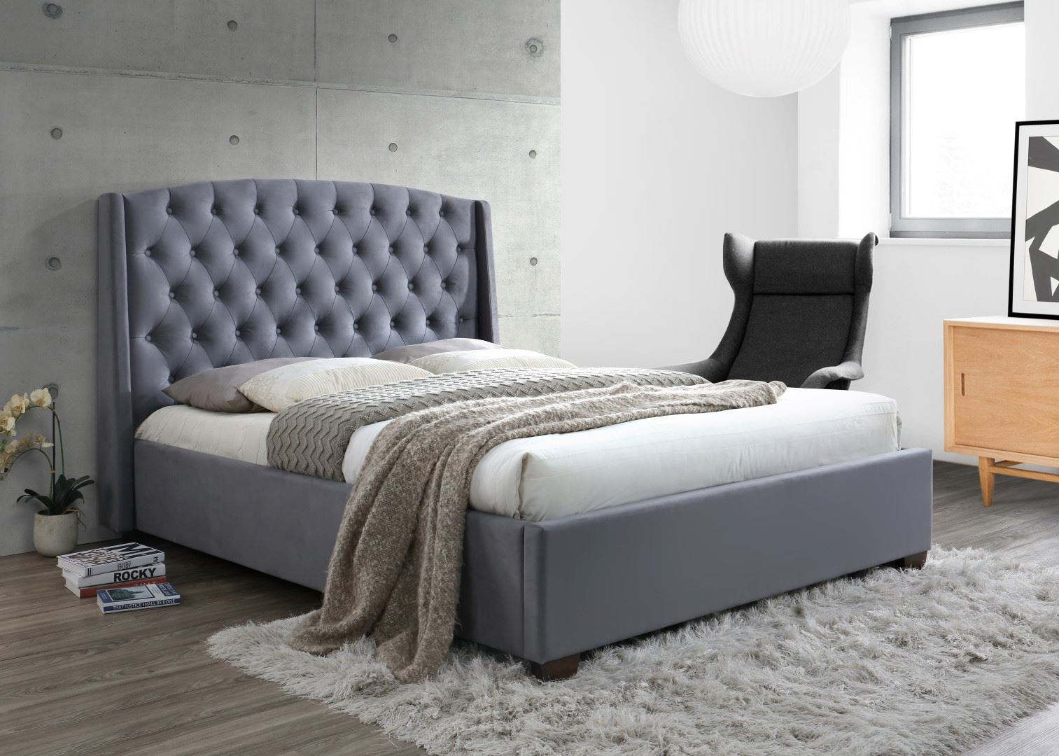 Birlea Balmoral Wing Back Super King Size Bed Frame 6FT 180cm Grey Velvet Fabric