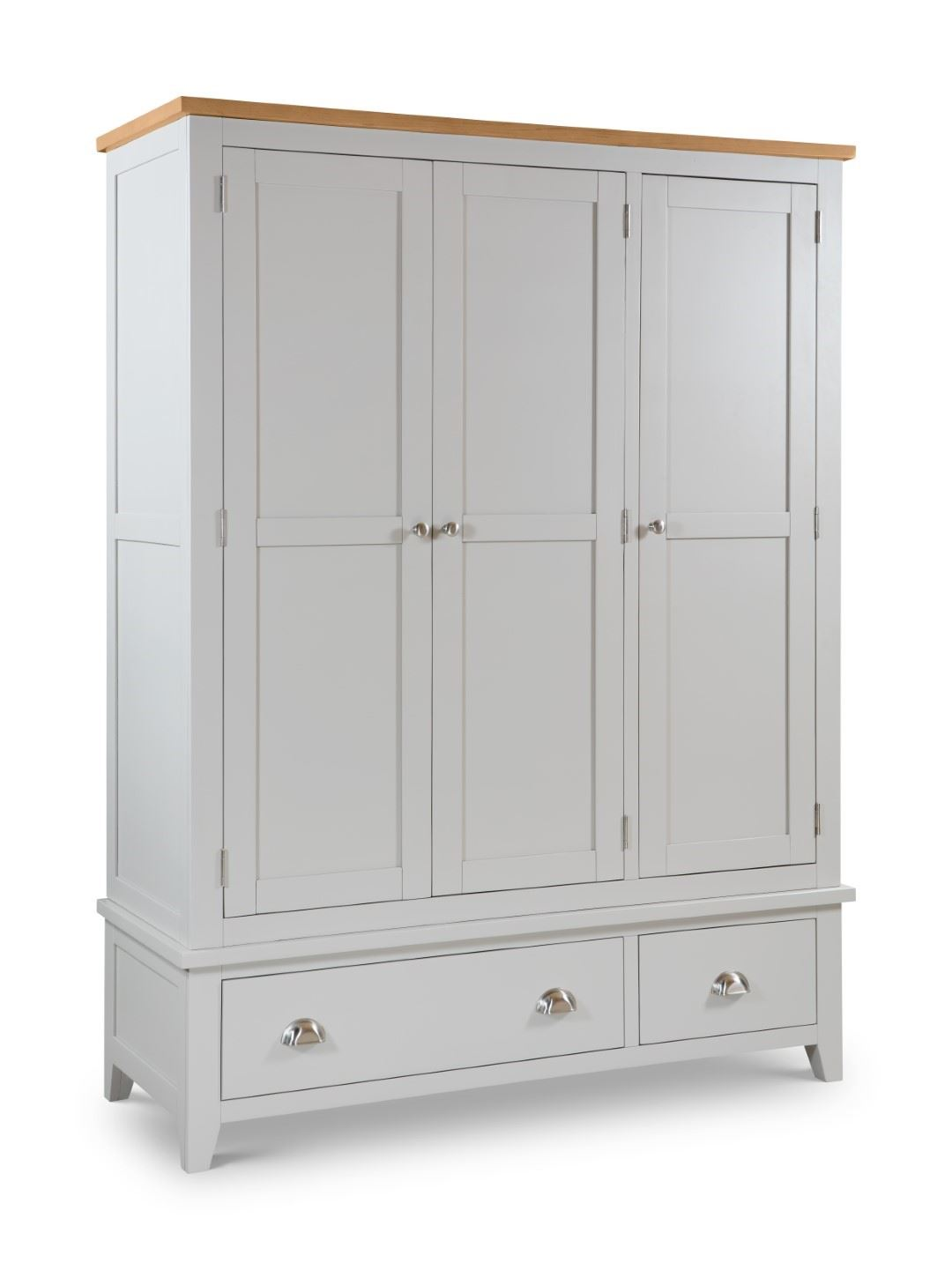 Julian Bowen Richmond Elephant Grey & Oak 3 Door Combination Wardrobe