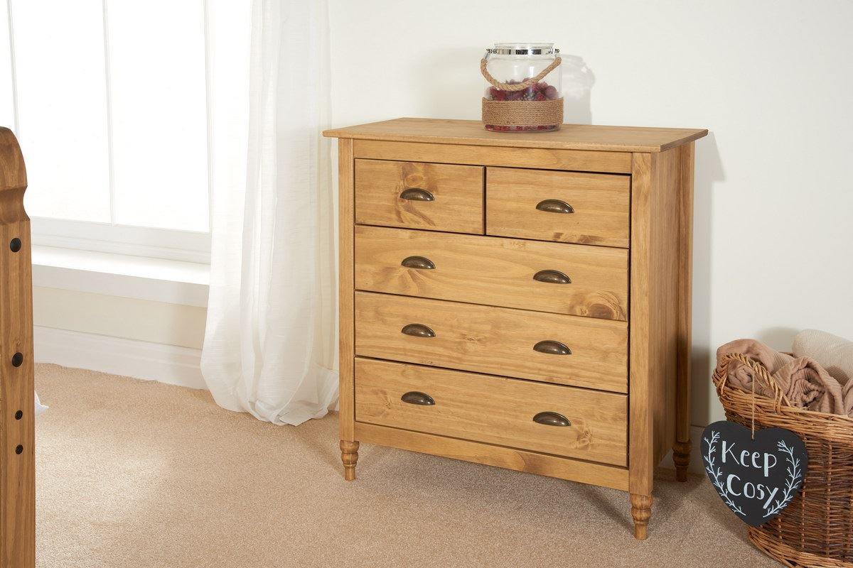 Birlea Pembroke 3+2 Drawer Chest Solid Wood Corona Mexican Waxed Pine