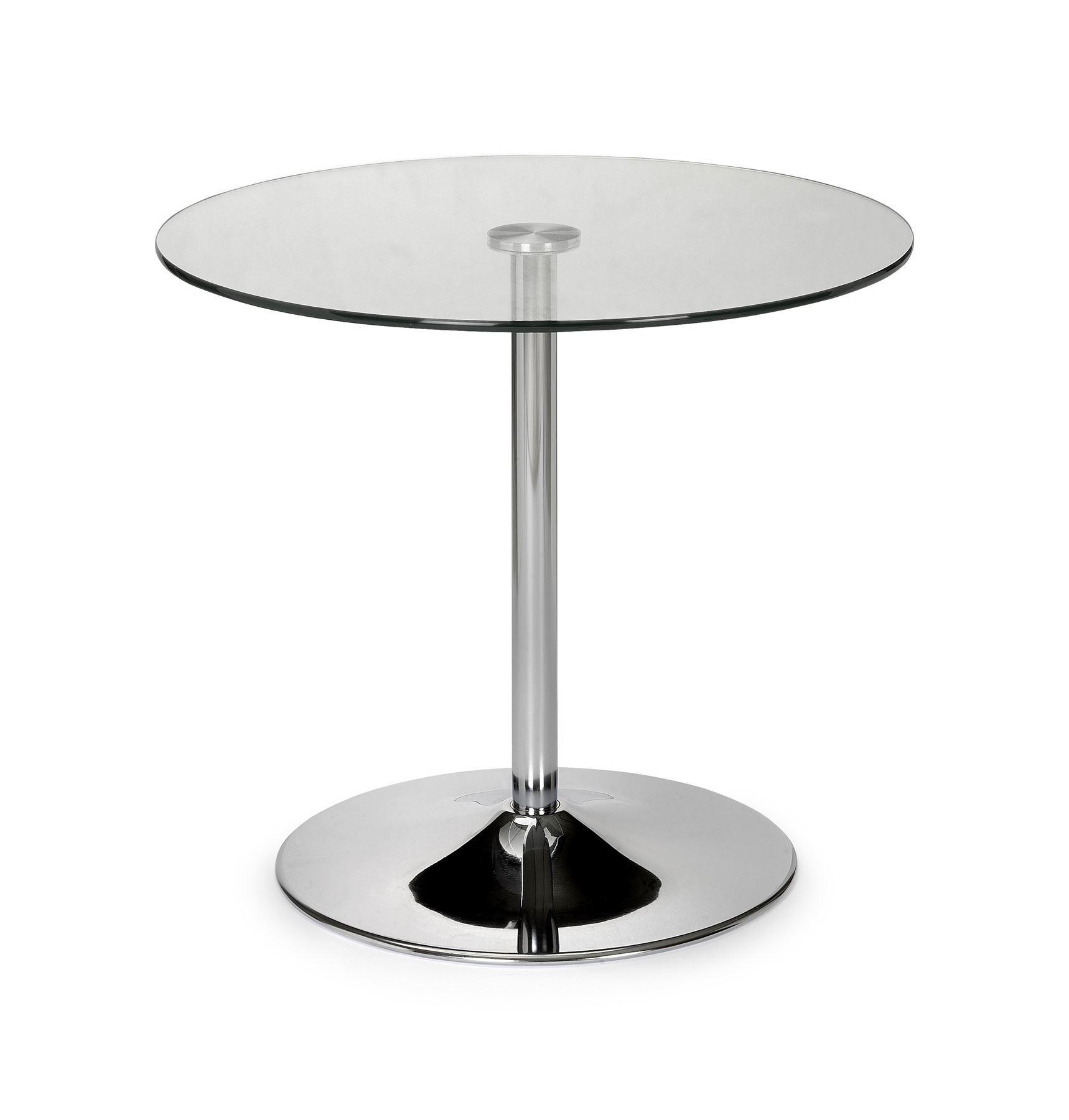 Julian Bowen Kudos Round Pedestal Small Dining Table 80cm Glass Chrome Base Www Robinsons Furniture