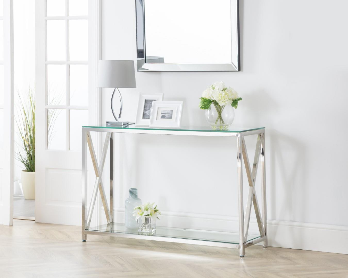 Julian Bowen Miami Rectangular Console Table Chrome Glass Modern Design