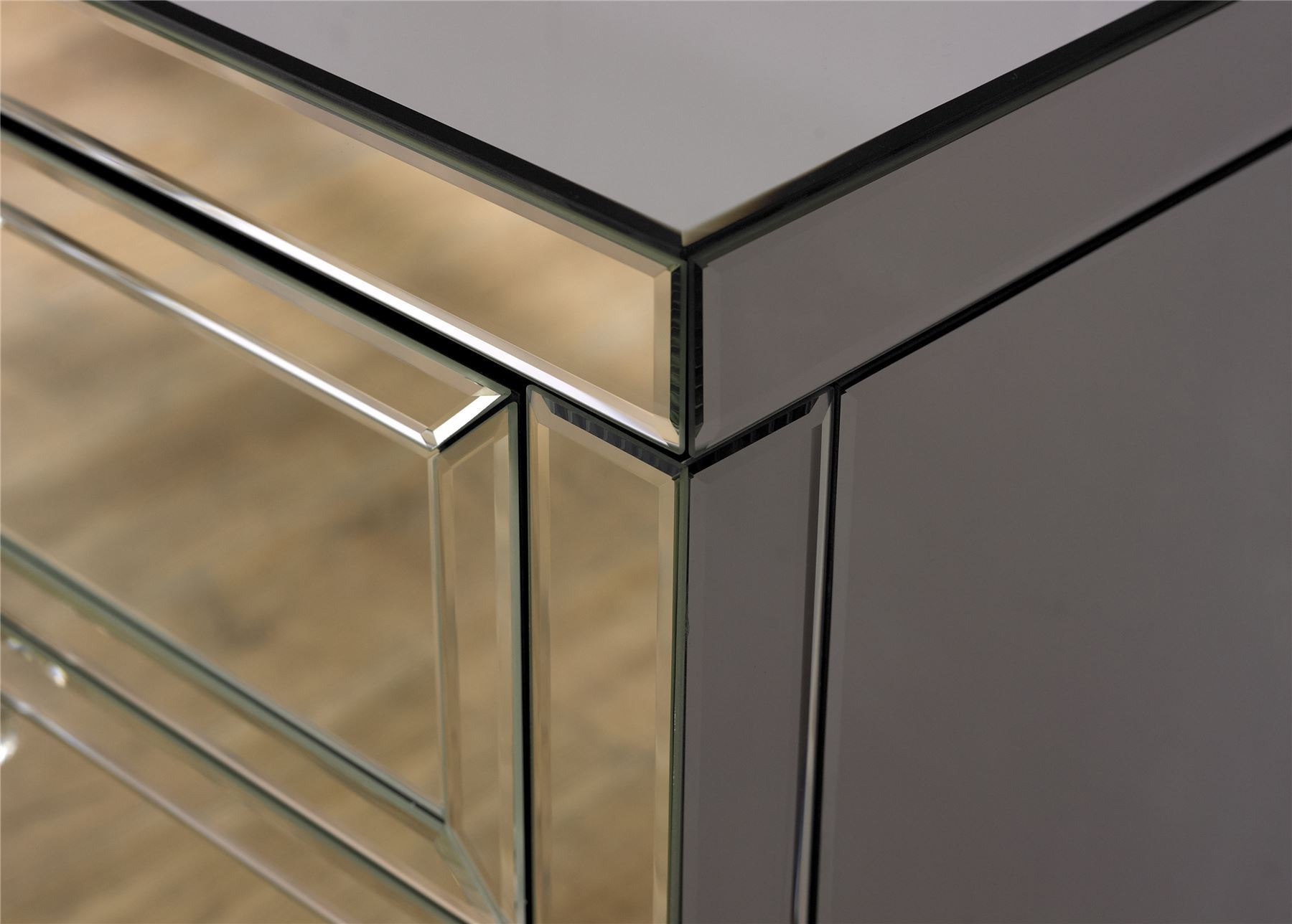 Birlea Valencia Mirrored 3 Drawer Bevelled Mirror Chest Bedside Cabinet