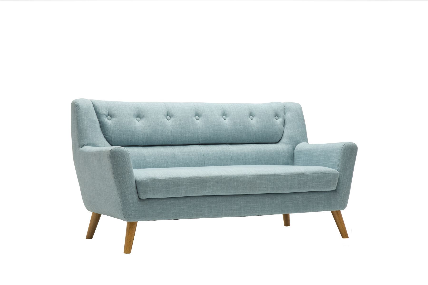 Birlea Lambeth 3 Seater Duck Egg Blue Large Sofa Settee Scandinavian Retro