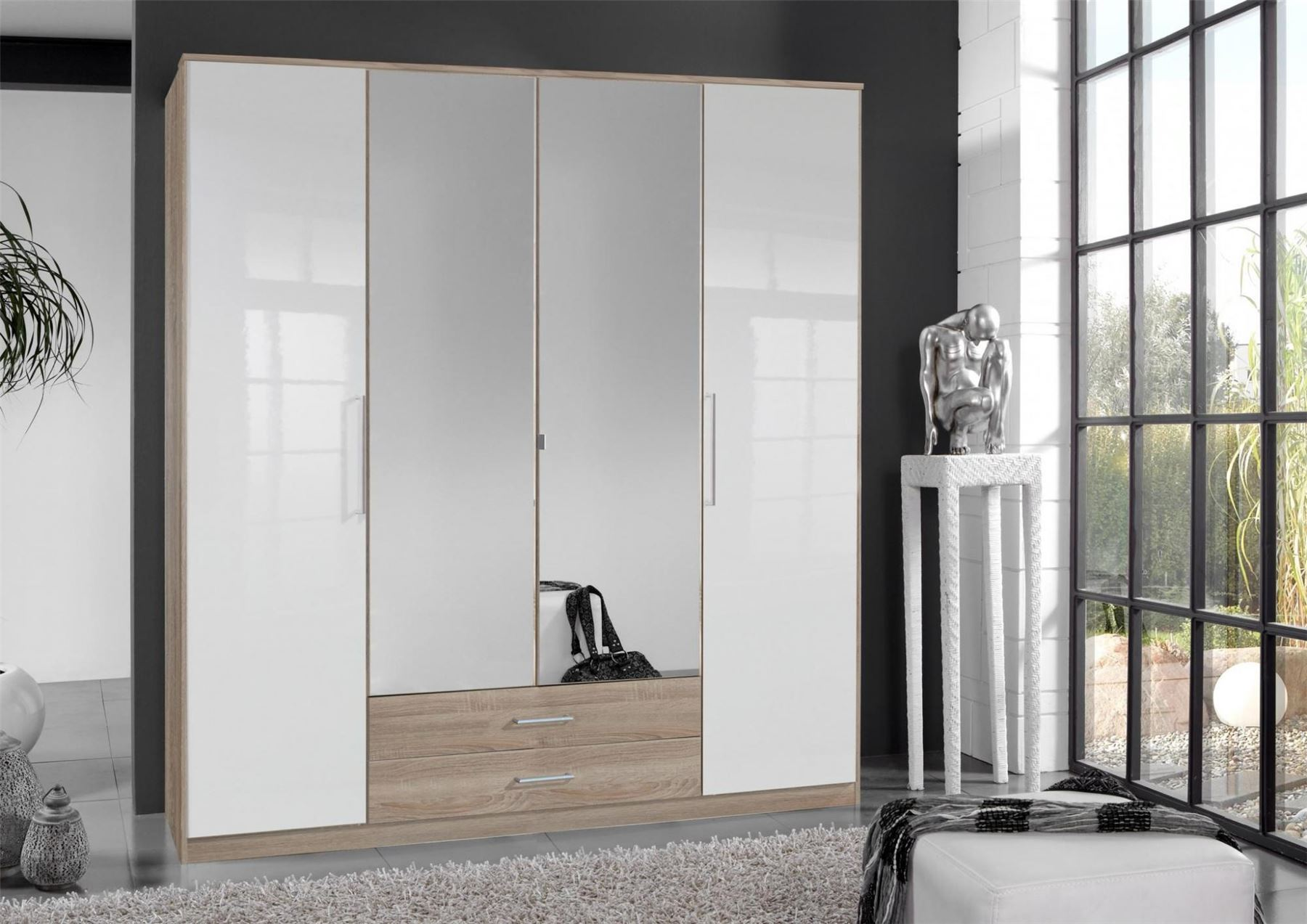 German 4 Door White Gloss & Oak Mirror 180cm Wardrobe with Drawers