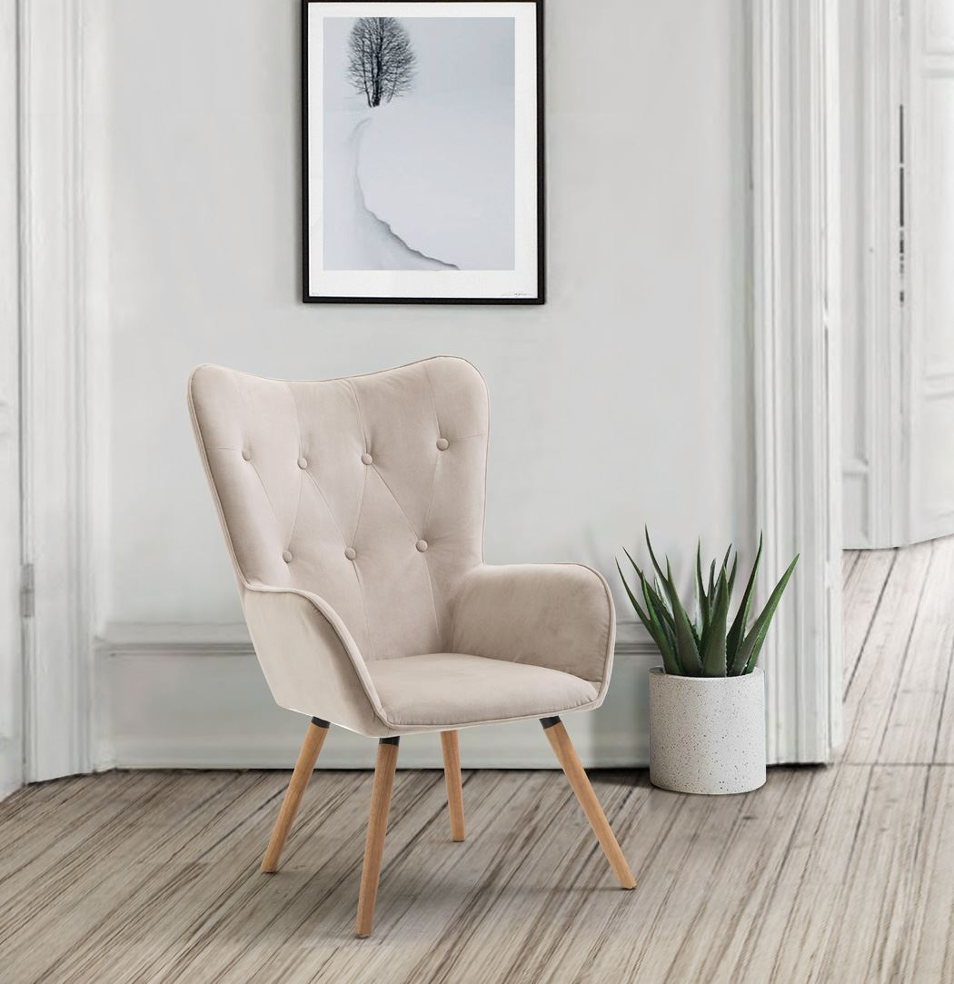 Birlea Willow Beige Accent Easy Fabric Fireside Chair Scandinavian Retro