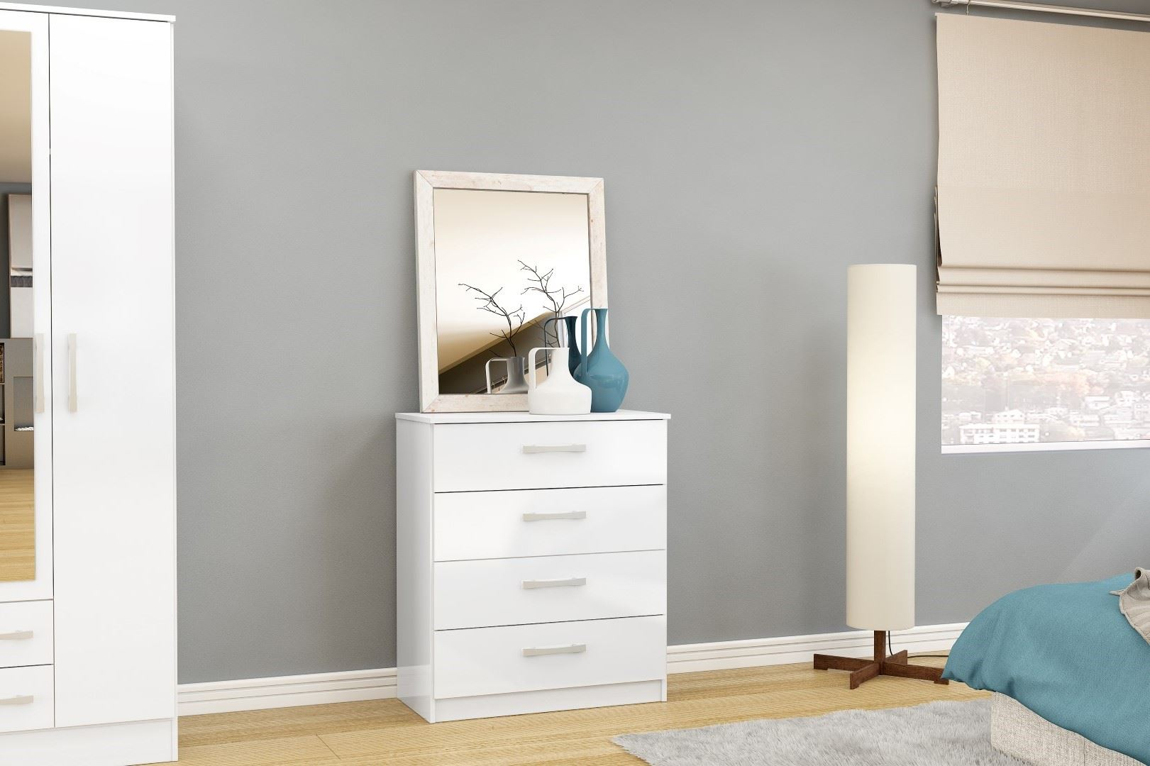 Birlea Lynx High Gloss All White 4 drawer chest  bedroom furniture new