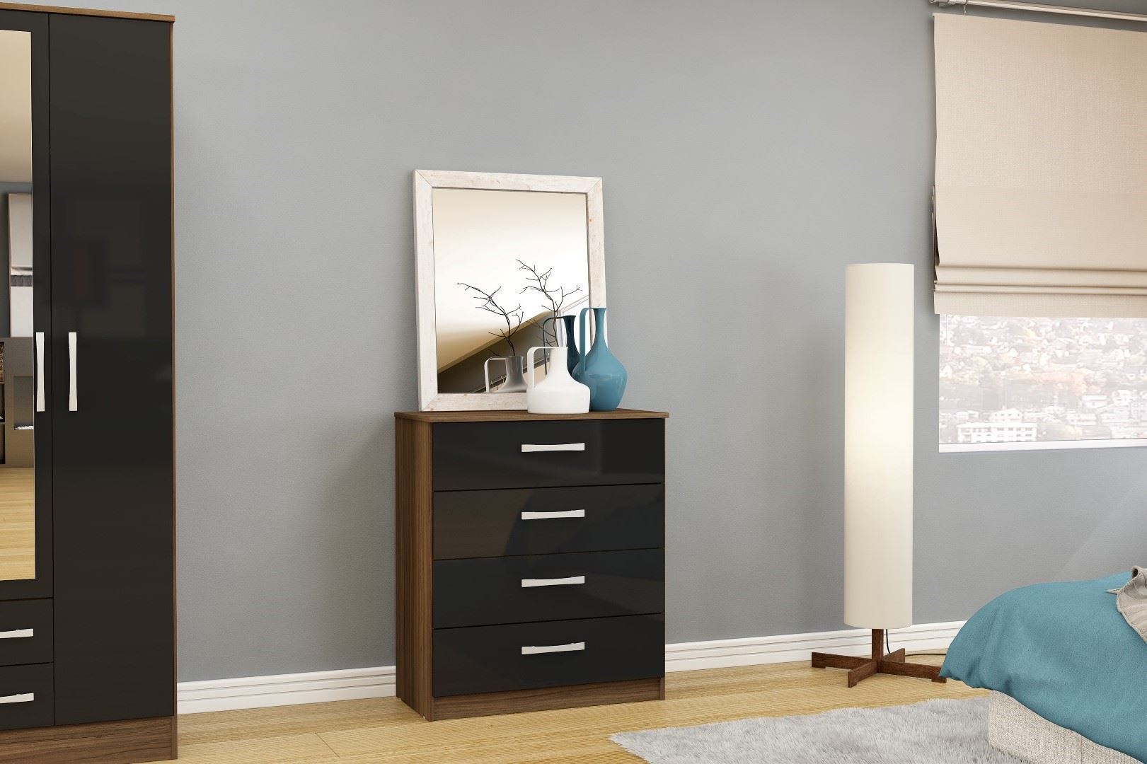 Lynx High Gloss Black and Walnut 4 drawer large chest of drawers new