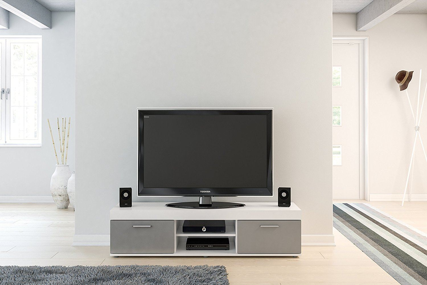 Birlea Edgeware TV Entertainment Unit White & Grey Gloss Stand Cabinet