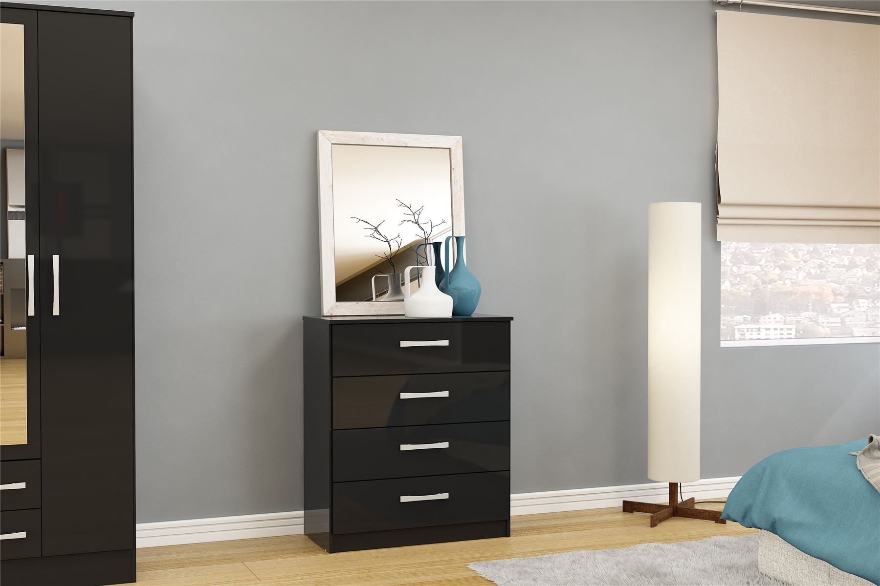 Birlea Lynx High Gloss All Black 4 drawer wide chest  bedroom new
