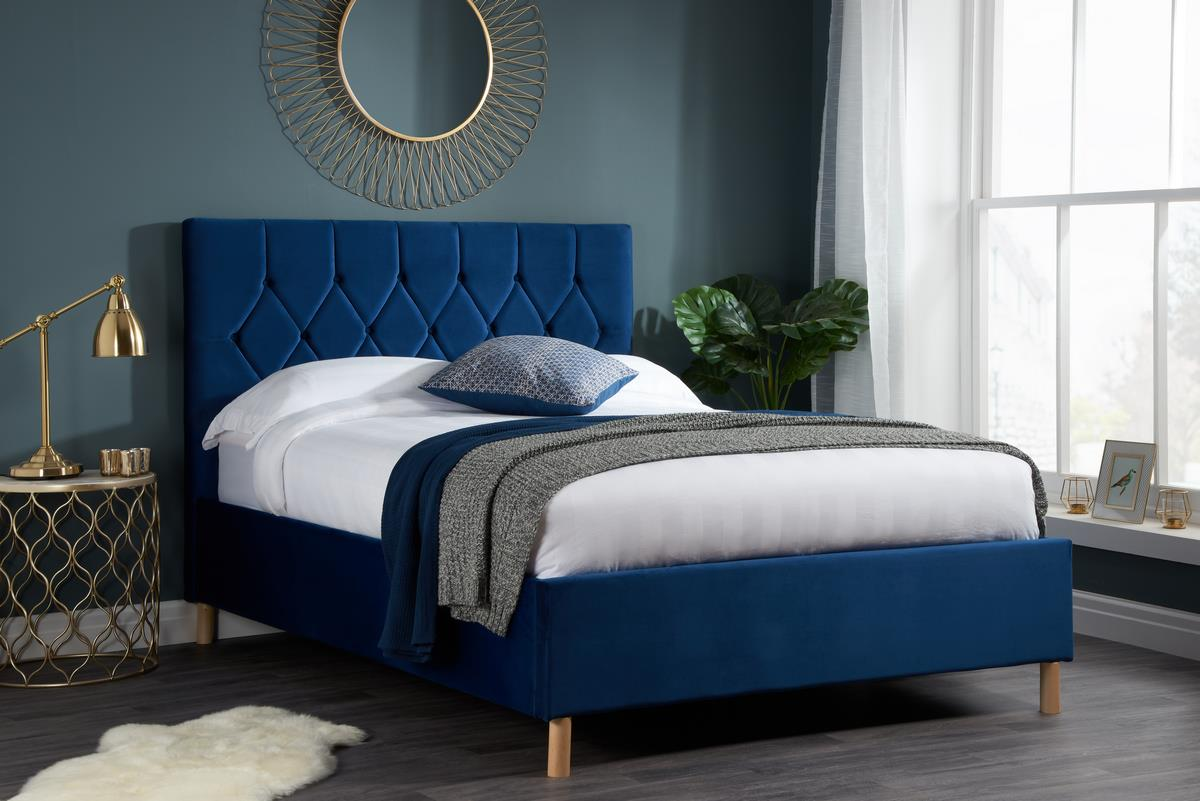 Birlea Loxley Bed Frame 120cm Small Double 4FT Navy Blue Fabric Bedstead