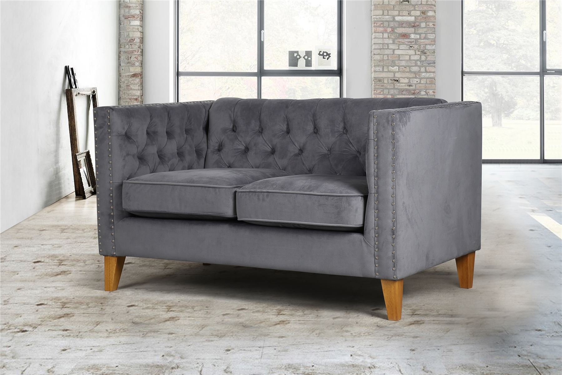 Birlea Florence Grey Velvet Medium Sofa Chair Button Back Love Seat