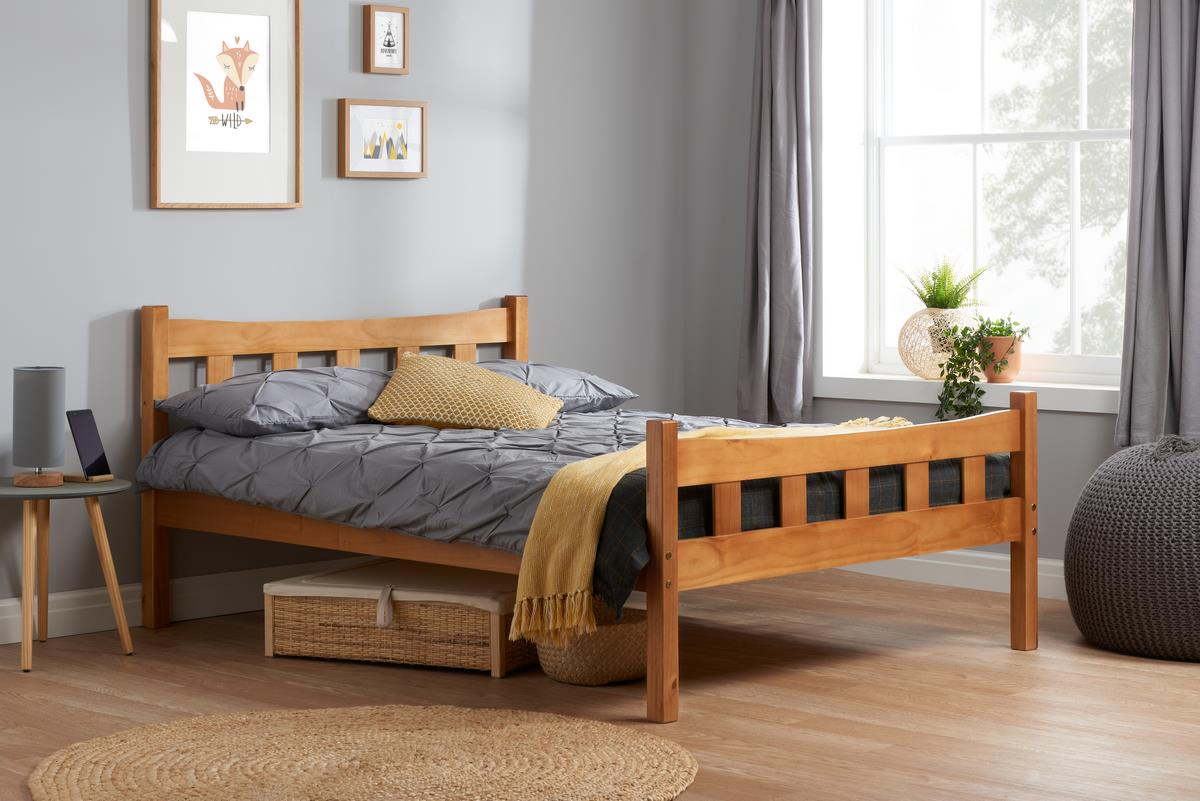 Miami Solid Wood Bed Frame 4FT 120cm Small double Bedstead Antique Pine