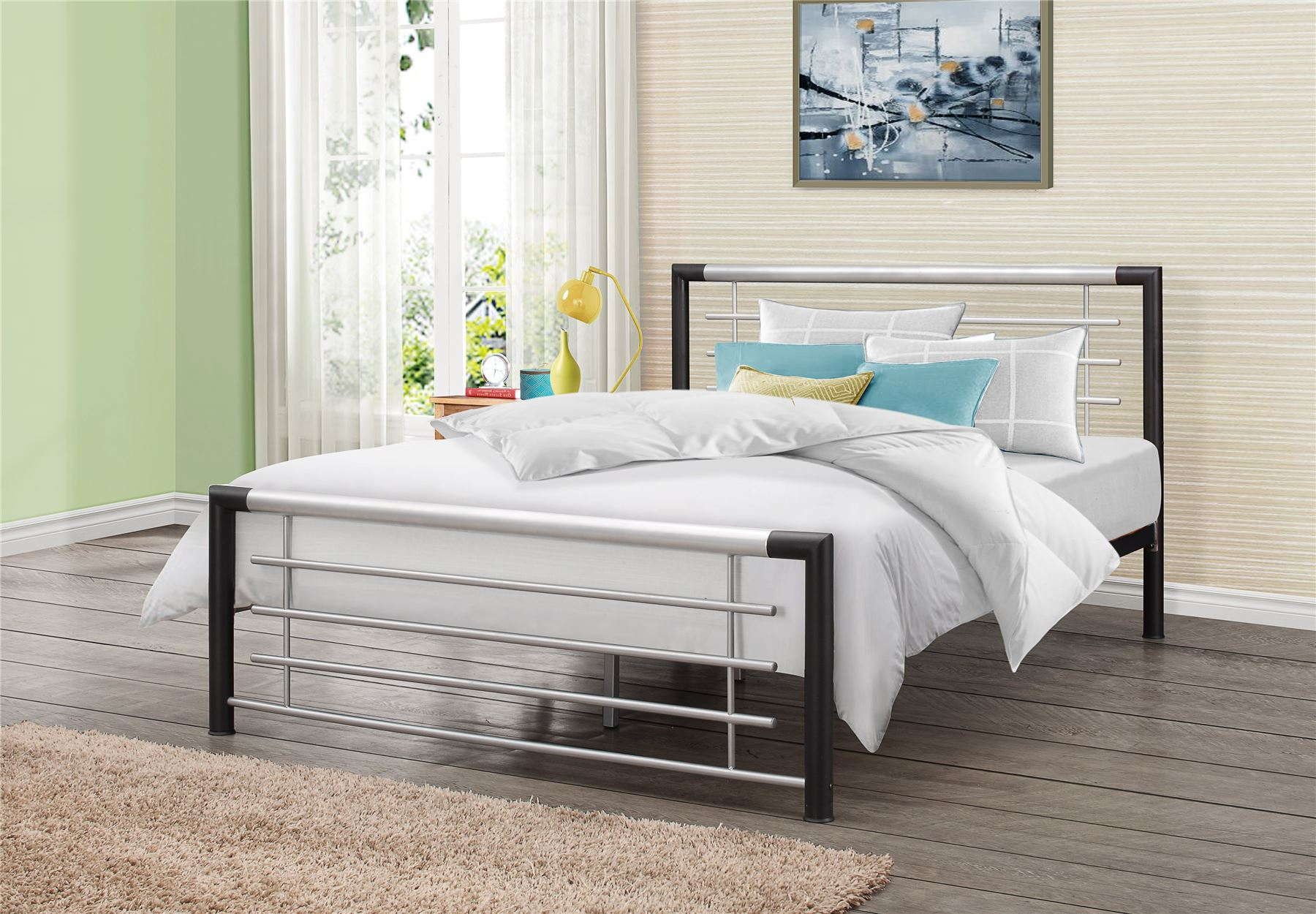 Faro 135cm 4FT6 Double Black & Silver Metal Bed Frame Bedstead Modern