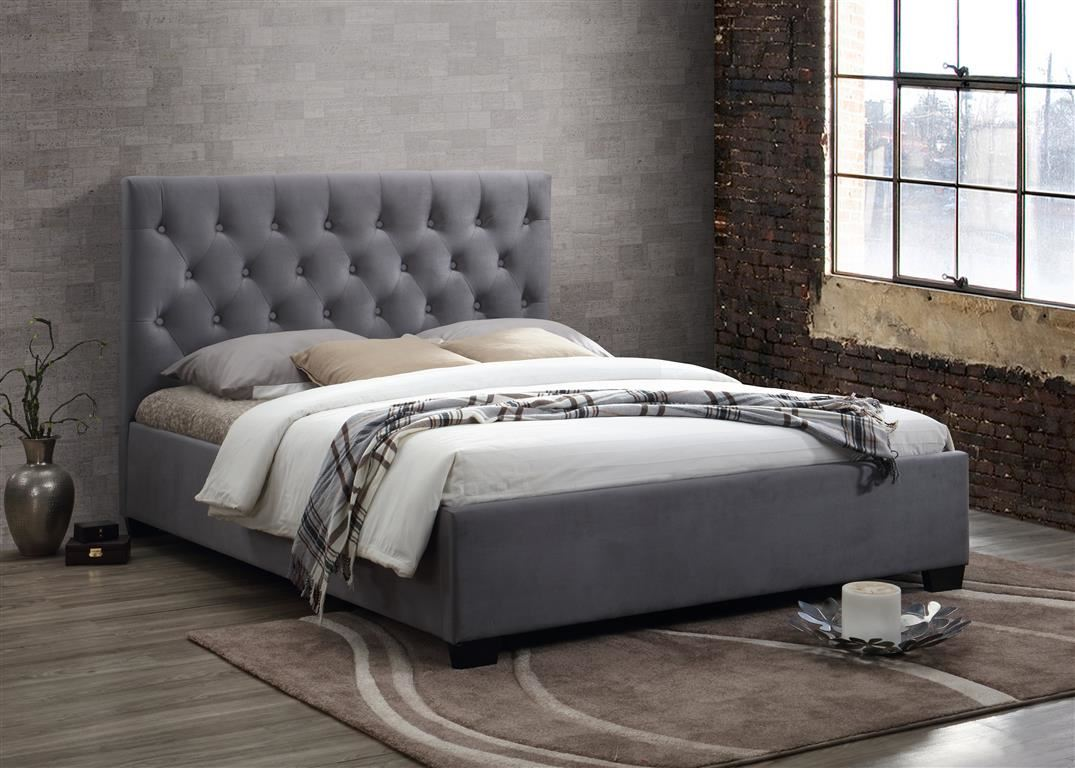Cologne Upholstered Headboard Bed Frame 150cm 5FT Grey Fabric King Size