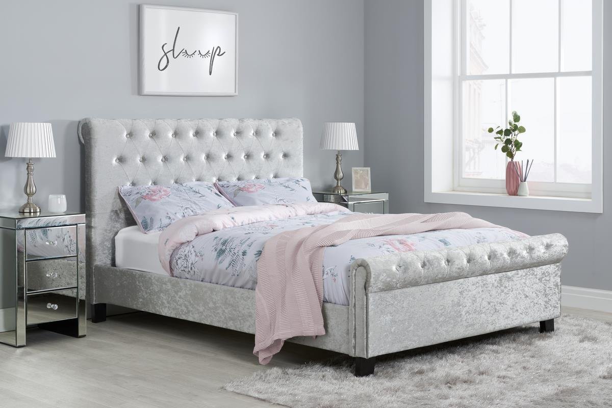 Birlea Sienna 150cm 5FT King Size Bed Sleigh Frame Steel Grey Crushed Velvet