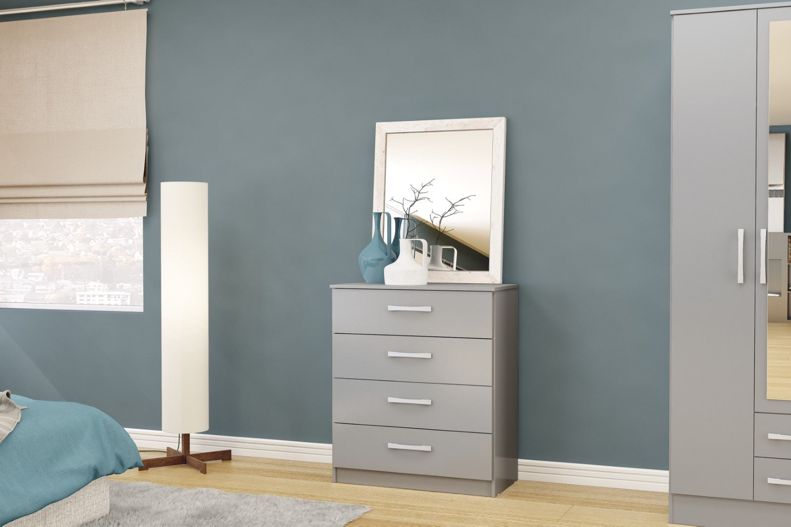 Birlea Grey Gloss Lynx 4 Drawer Medium Chest Modern Bedroom