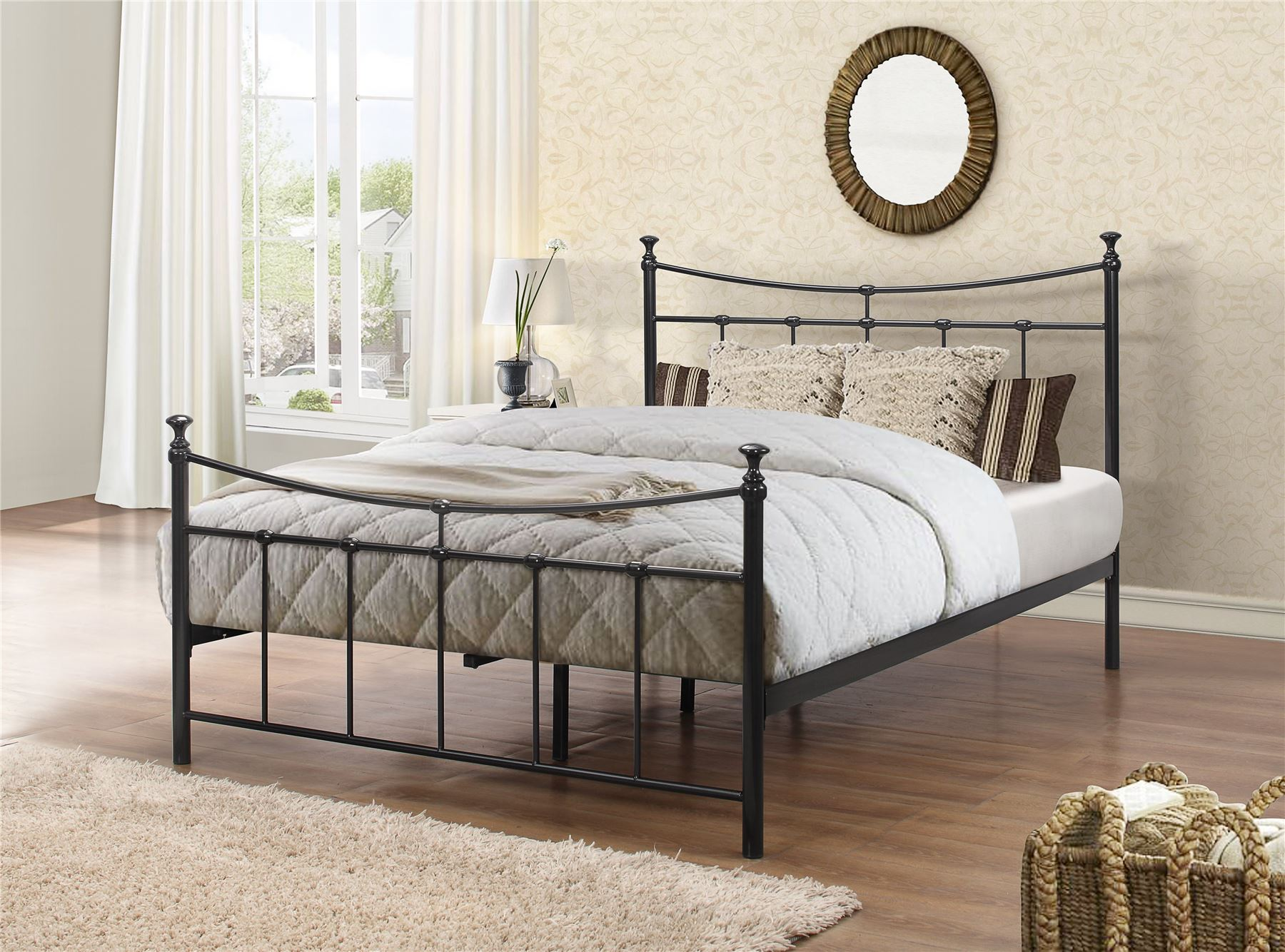 Emily 135cm 4FT6 Double black metal Bed Frame Bedstead decorative finials