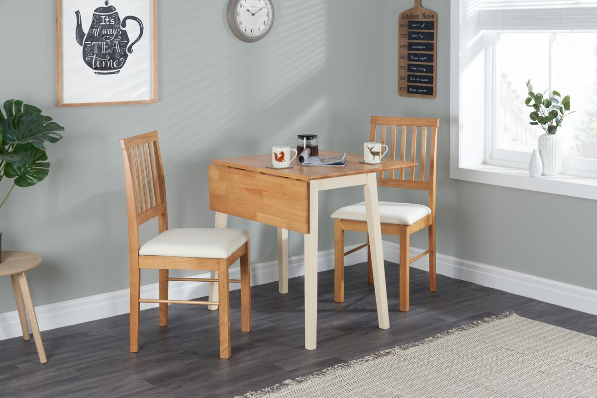 Birlea Lille Drop Leaf Solid Wood Dining Table 2 Chairs Kitchen Set Oak Cream