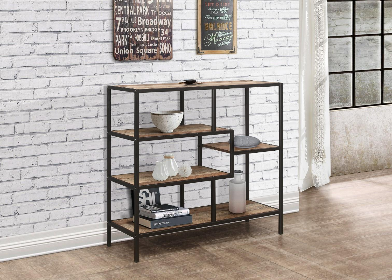 Birlea Urban Industrial Chic Wide Bookcase Shelving Unit Rustic Metal Wood