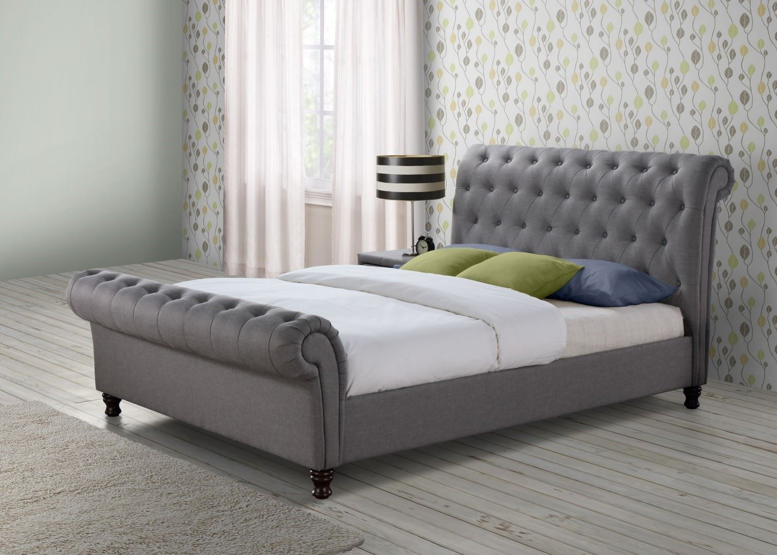 Castello Chesterfield Sleigh Grey Fabric 6FT 180cm Super King Size Bed Frame