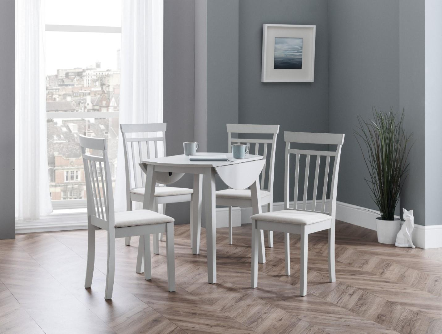Julian Bowen Coast Pebble Grey Kitchen Round Dining Set Drop Leaf Table 4 Chairs