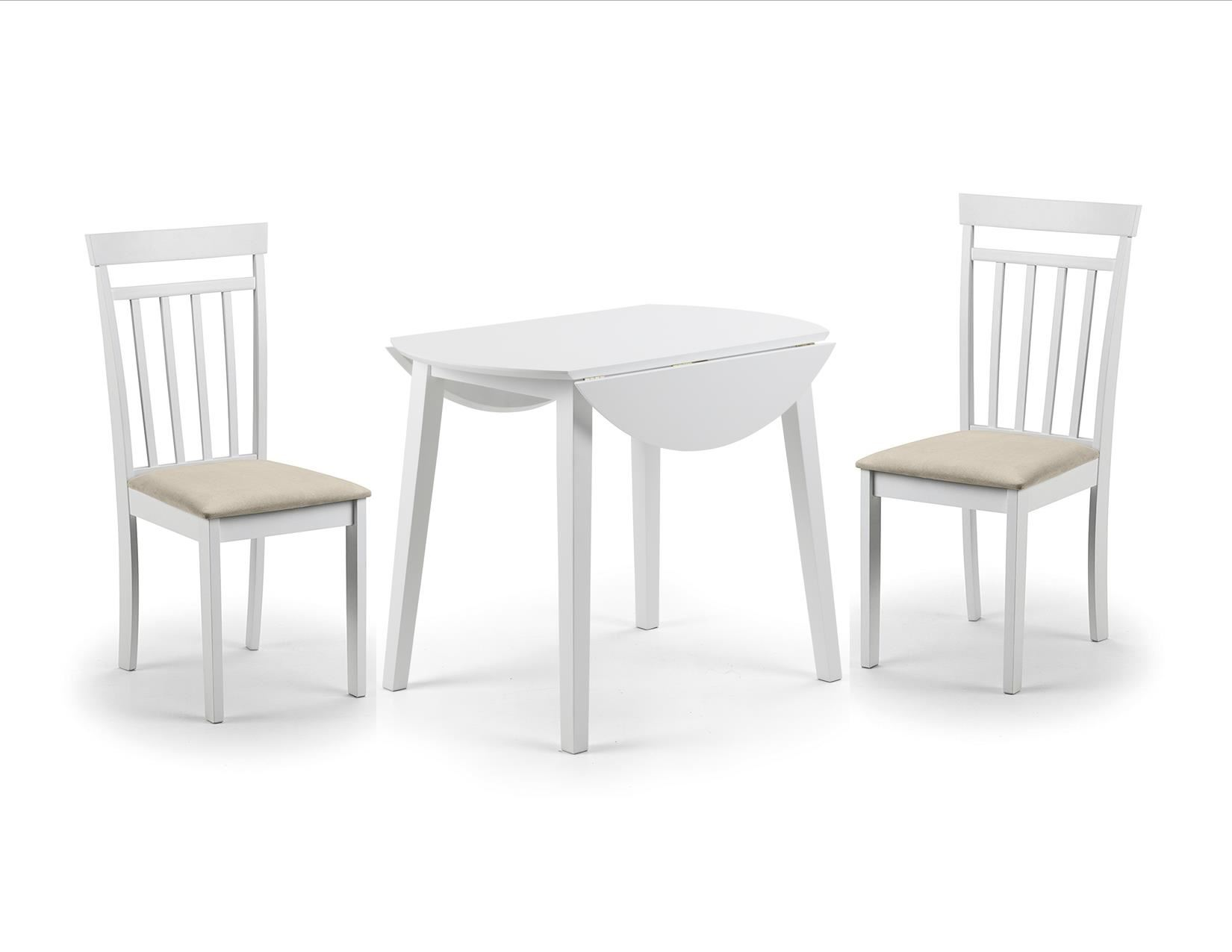 Julian Bowen Coast White Wood Round Kitchen Dining Table Drop Leaf 2 Chairs