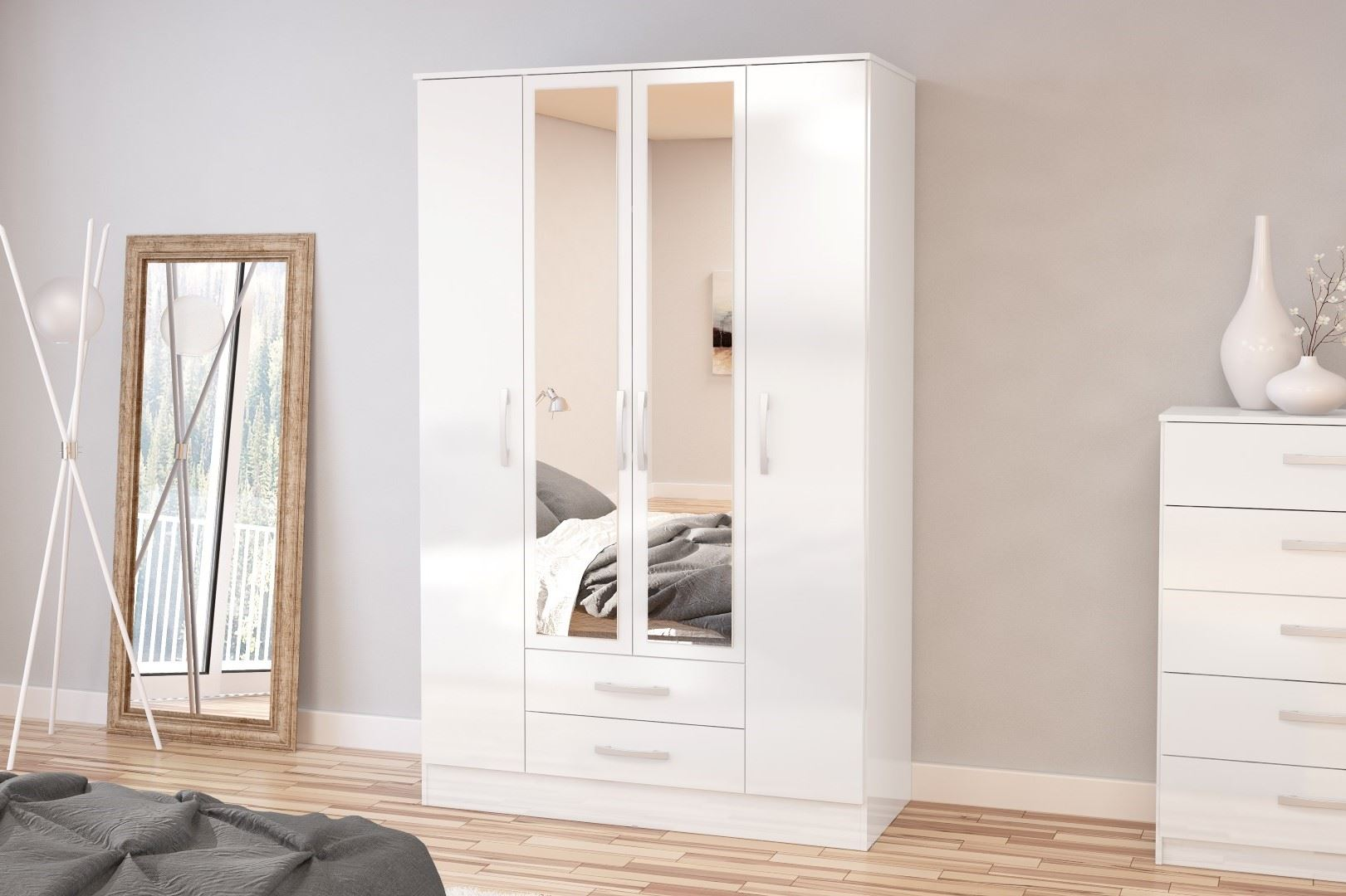 Birlea Lynx High Gloss All White 4 door Mirror 2 drawer bedroom wardrobe new