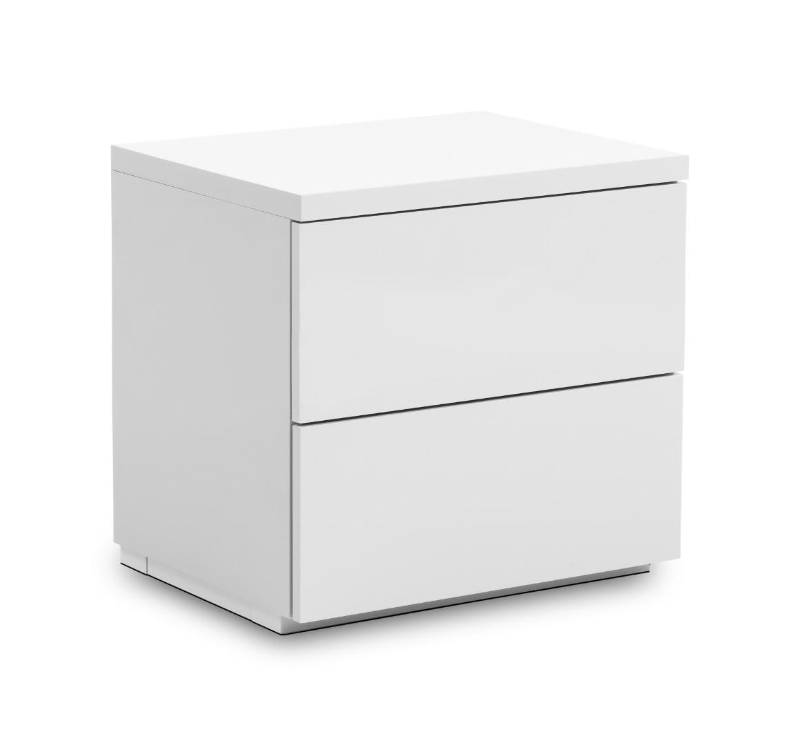 Julian Bowen Monaco 2 Drawer Bedside Cabinet Locker White Gloss Minimalist Design