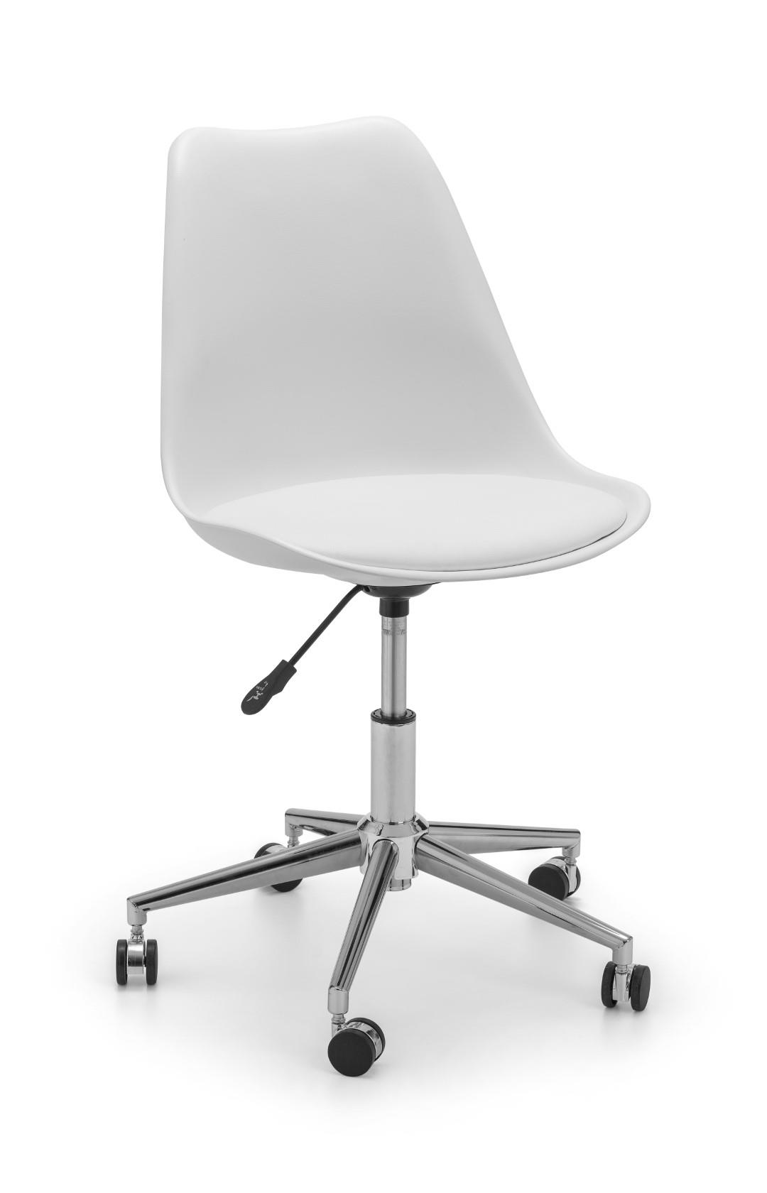 Julian Bowen Erika Office Desk Computer Chair White Leather Chrome Adjustable