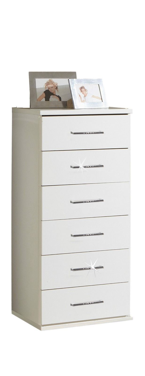 Bijoux German 6 Tall Narrow Chest of Drawers White Crystal Rhinestone Bling