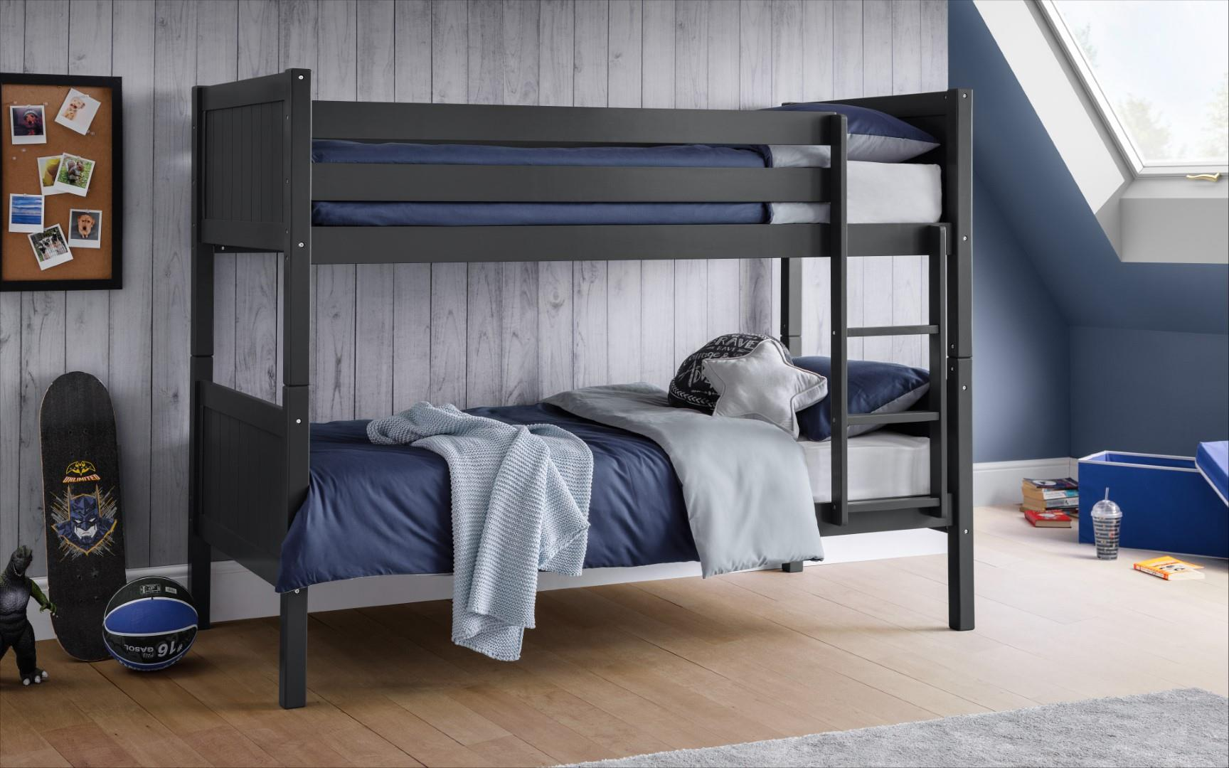Julian Bowen Bella Contemporary Bunk Bed Frame Solid Grey Pine Wood 3FT Single