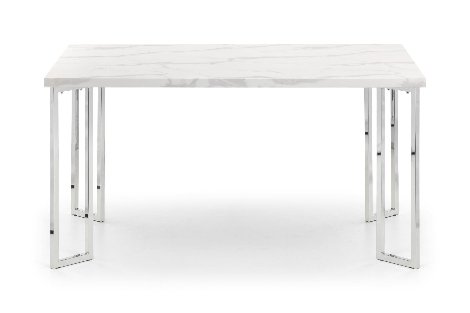 Julian Bowen Positano White Italian Marble Style Dining Table Stainless Steel