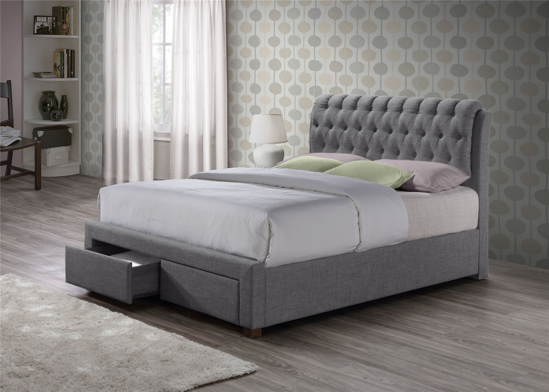 Birlea Valentino Grey Luxury 2 Drawer Storage Bed Frame King Size 150cm 5FT