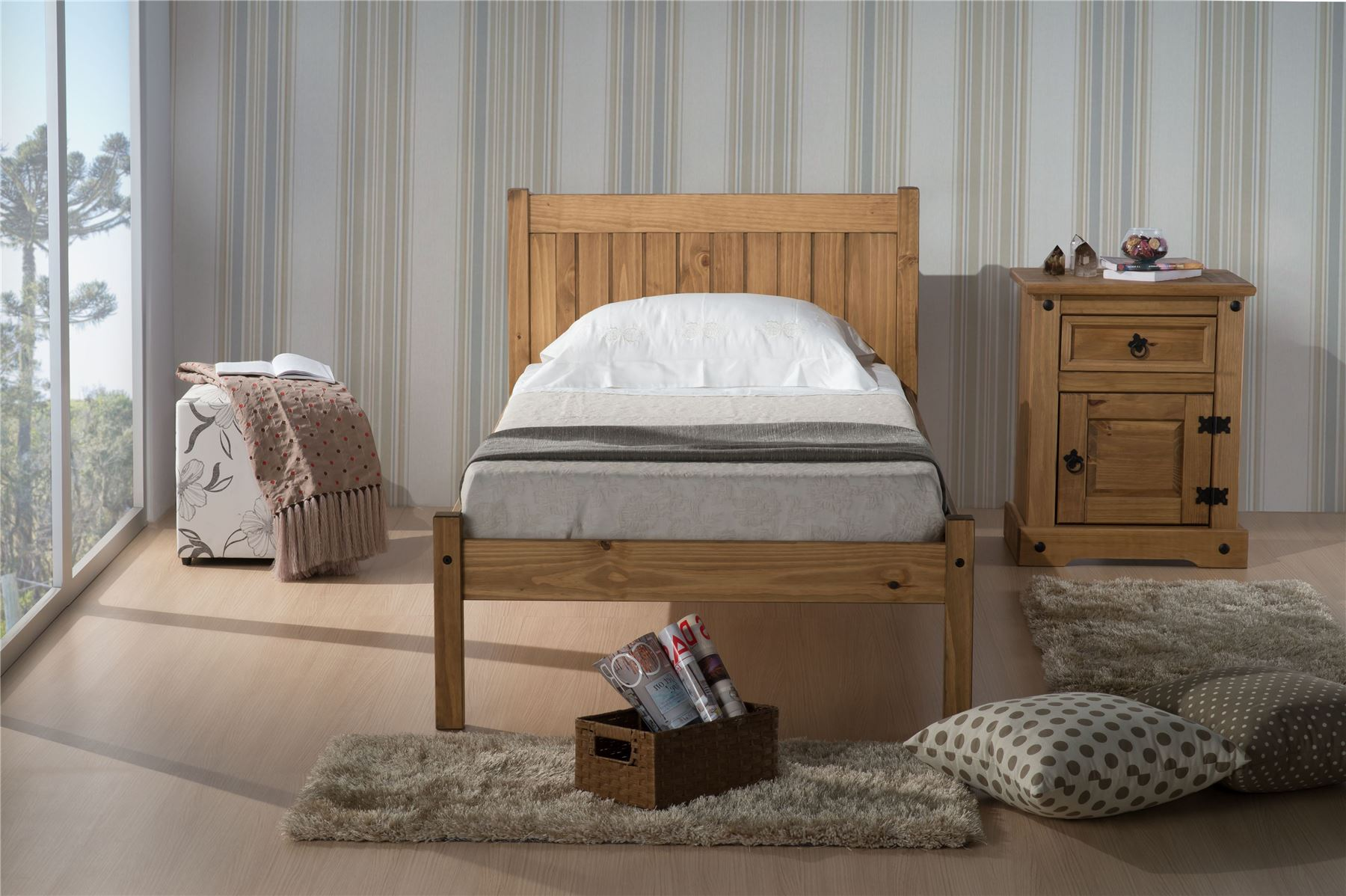 Birlea Corona Mexican Solid Pine Wood Rio 90cm Bedstead 3FT Single bed Frame