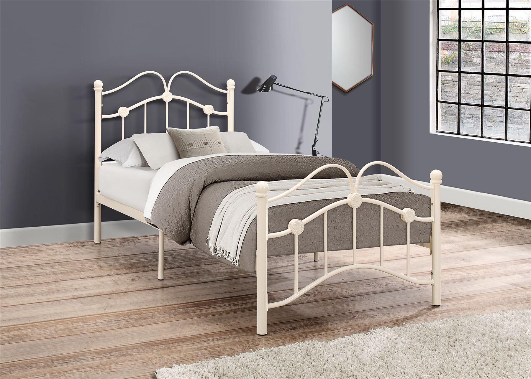 Birlea Canterbury 3ft Single 90cm Cream Metal Off White Traditional Bed Frame Www Robinsons Furniture