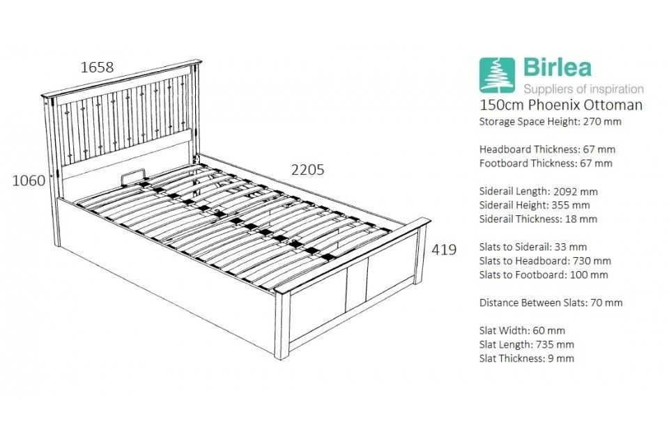 Phoenix Wood Ottoman Bed Frame Storage King Size 5FT Stone Grey Oak Solid