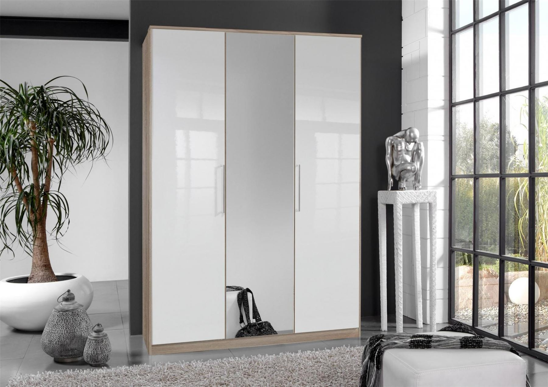 German 3 Door 135cm White Gloss & Oak Mirror Wardrobe
